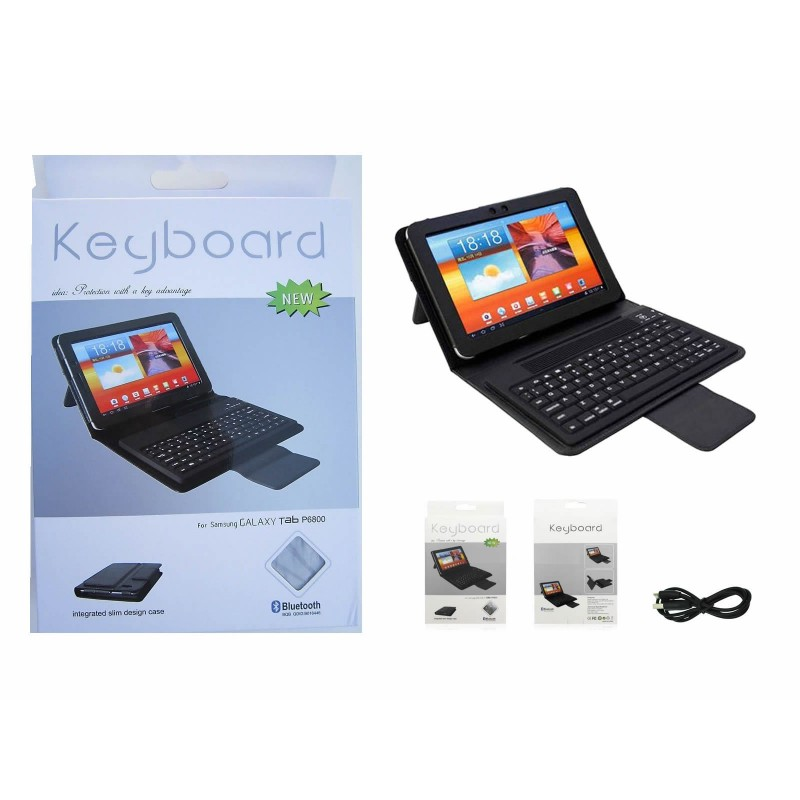 Bluetooth Leather Keyboard Case for Samsung Galaxy Tab Tablet P6800 7.7 Black