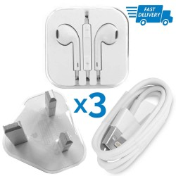Genuine Apple Charger USB Cable Wall Plug Earphones Set iPhone 5/5C/5S/6/6S Plus