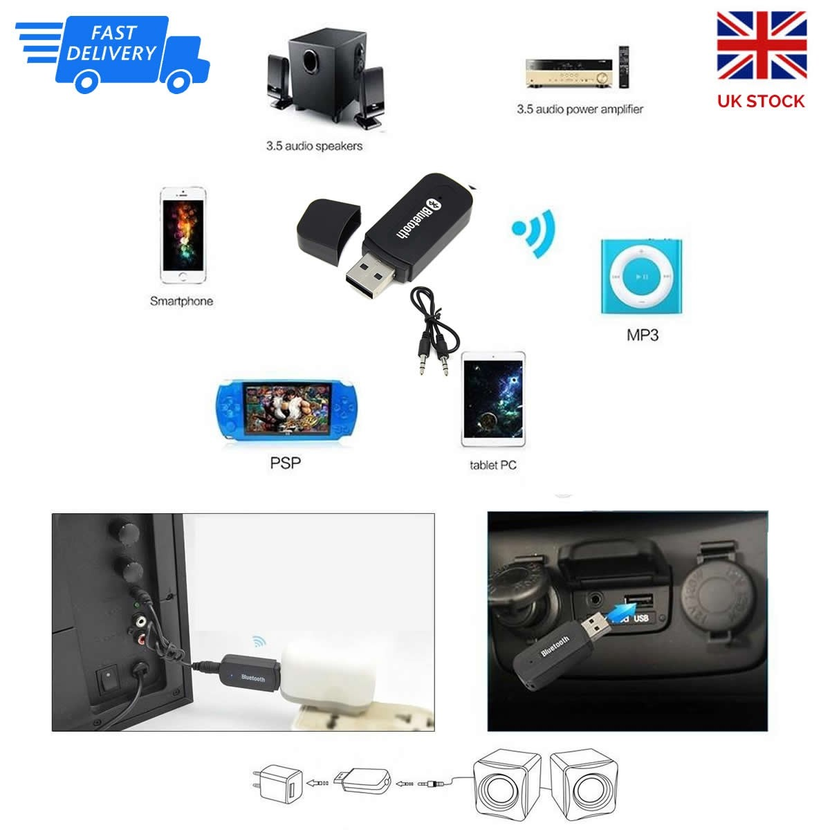 Usb Bluetooth Stereo Music Recever Portable Wireless Receiver Car Audio Speaker