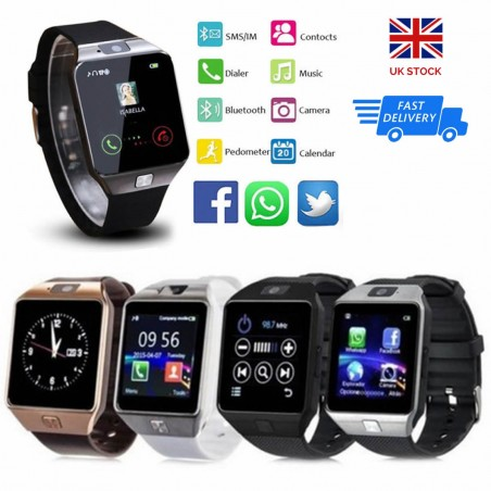 NEW DZ09 Smart Watch Sim Phone Bluetooth Camera Apple & Android Compatible UK