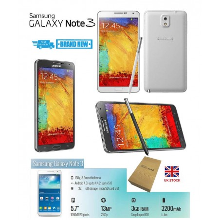 Unlocked SAMSUNG Galaxy Note 3 N9005 Memory 16GB 13MP Camera RAM 3GB Android Warranty