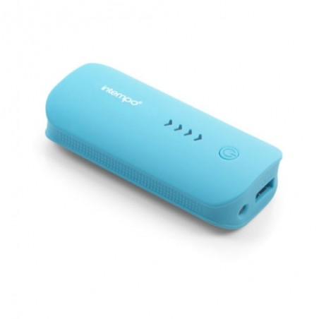 Genuine Intempo Portable Rechargeable Lithium Charger, 4000 mAh Blue Power Bank