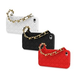 Fashion Kikkerland Purse Case Silicone Protective iPhone 5/5S/SE with Gold Chain