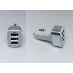 Triple 3 USB Ports Car Charger Traver Adapter - Silver